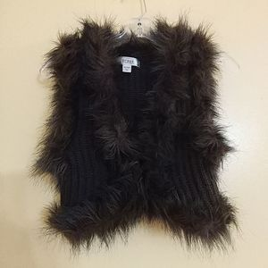 DECREE BROWN FUR SWEATER VEST XS